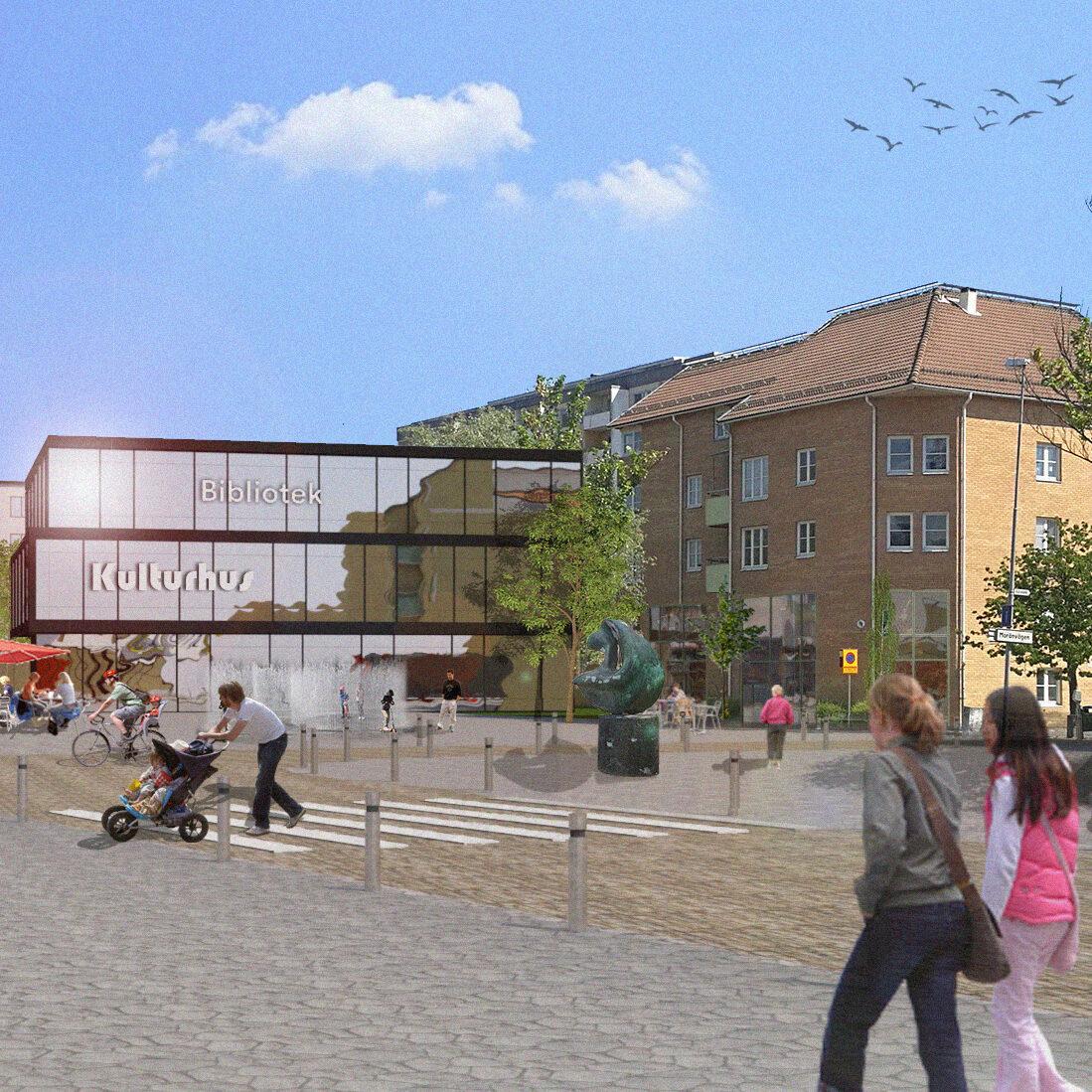 Bild 2 - vy åt nordöst över nya torget vid stationen
